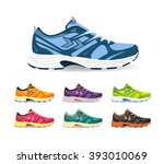 running shoes. sport shoes.... | Shutterstock .eps vector #393010069
