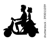 happy couple on a scooter....   Shutterstock .eps vector #393011059
