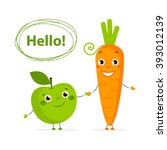 funny fruits and vegetables... | Shutterstock .eps vector #393012139