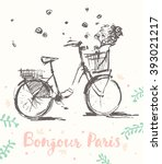 hand drawn cute vintage bicycle ... | Shutterstock .eps vector #393021217