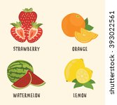 a set of fresh fruit... | Shutterstock .eps vector #393022561
