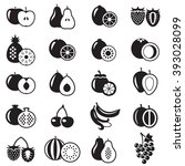set of fruits monochrome icons... | Shutterstock . vector #393028099