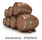 wine big brown barrel isolated... | Shutterstock . vector #39303634