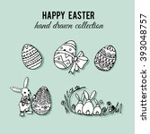 happy easter set. hand drawn... | Shutterstock . vector #393048757