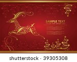 abstract gold christmas deer on ... | Shutterstock .eps vector #39305308