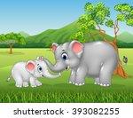 cartoon elephant mother and... | Shutterstock .eps vector #393082255