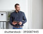 business man in office with... | Shutterstock . vector #393087445