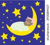 bear sleeping on the moon vector | Shutterstock .eps vector #393089437