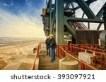 two coal mine engineers with... | Shutterstock . vector #393097921