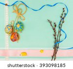 blank  greeting easter card...   Shutterstock . vector #393098185