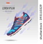 sneaker sport running shoe flat ... | Shutterstock .eps vector #393110329
