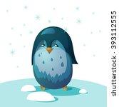 little penguin is standing on... | Shutterstock .eps vector #393112555