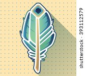 peacock feather icon on a light ... | Shutterstock .eps vector #393112579