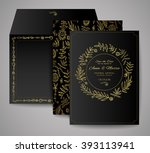 set of wedding cards. floral... | Shutterstock .eps vector #393113941