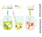 set of summer fresh smoothies... | Shutterstock .eps vector #393114349
