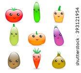 set of cute  kawaii  vegetables ... | Shutterstock .eps vector #393121954