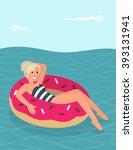 blonde girl swims in sea on...   Shutterstock .eps vector #393131941