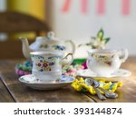 tea time  with painted floral... | Shutterstock . vector #393144874