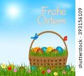 easter basket with easter eggs... | Shutterstock .eps vector #393156109