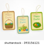 easter labels in vintage style... | Shutterstock .eps vector #393156121