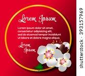apricot blossom card vector...   Shutterstock .eps vector #393157969
