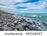 rough and stony coastline on... | Shutterstock . vector #393168337