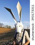 easter rabbit in the geometric... | Shutterstock . vector #393173311