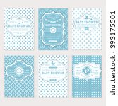 Stock vector baby shower set cute invitation cards for boy baby shower party vector collection on white and 393175501