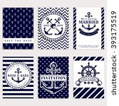 nautical wedding invitation... | Shutterstock .eps vector #393175519
