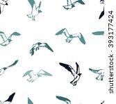 seagull seamless pattern. hand... | Shutterstock .eps vector #393177424