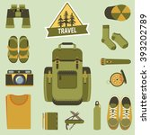 backpack and hiking equipment.... | Shutterstock .eps vector #393202789