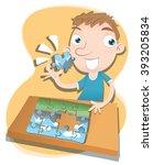 cartoon boy solving jigsaw... | Shutterstock .eps vector #393205834