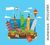 travel around the world concept ... | Shutterstock .eps vector #393214585