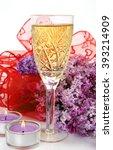 vetka sireni and champagne   Shutterstock . vector #393214909