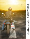 man ride on chopper isolated on ... | Shutterstock . vector #393223084