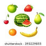 ripe fruits isolated on white... | Shutterstock .eps vector #393229855
