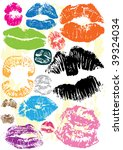 collection of juicy kisses | Shutterstock .eps vector #39324034