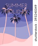three palm trees on the beach.... | Shutterstock .eps vector #393240349