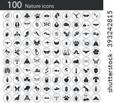 set of one hundred nature icons  | Shutterstock .eps vector #393242815