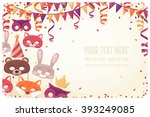 horizontal template with animal ... | Shutterstock .eps vector #393249085