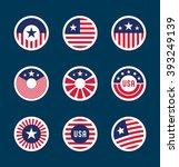 set of american flag badges  7  | Shutterstock .eps vector #393249139
