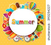 background with summer stickers.... | Shutterstock .eps vector #393254227