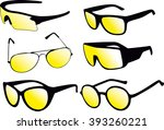 sunglasses and a white... | Shutterstock .eps vector #393260221