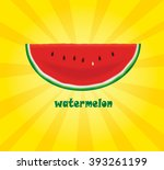 slice of watermelon on yellow... | Shutterstock .eps vector #393261199