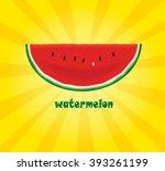 slice of watermelon on yellow... | Shutterstock .eps vector #393261199