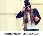 pretty hipster girl in... | Shutterstock . vector #393265969