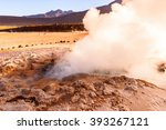 active geysers comes out of the ... | Shutterstock . vector #393267121