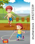 boy and girl doing jumprope in... | Shutterstock .eps vector #393272239