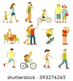 different people in outdoors... | Shutterstock .eps vector #393276265