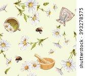 vector herbal seamless pattern... | Shutterstock .eps vector #393278575